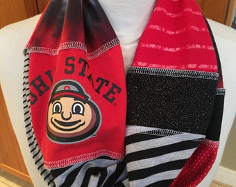 UPCYCLED t-shirt scarf... Ohio State University... OSU... Buckeyes... scarlet & gray