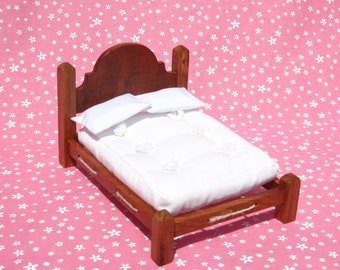 Dollhouse Double Bed Mini Double Bed 12th Scale Brazilian Cherry Rope Bed Smalll Doll Bed Full Size 12th Scale Dollhouse Bed Miniature Bed