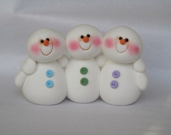 Polymer Clay Snowman Family