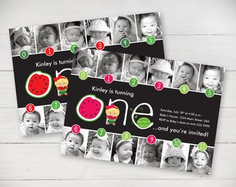 Watermelon Timeline 1st Birthday Invitation (Pink or Red) - Digital File