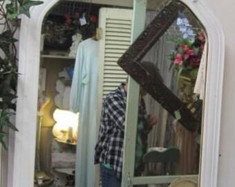 Shabby Vintage White Mirror Carved Finial Farmhouse Chic Prairie Paris Flea Market