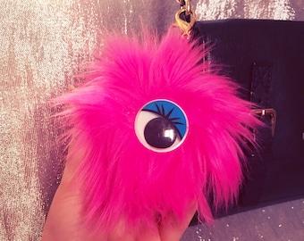 Monster Hot Pink Pom Pom Purse Charm/Keychain Kawaii