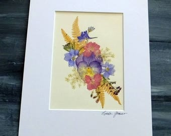 PRESSED FLOWER ART - Colorful Pressed Flowers and Ferns Garden Bouquet, Matted Art Picture, Home Decor, Mother, Sister, Friendship Gift