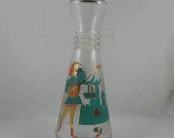 Vintage Liquor Bottle Singing Minstrel Musical Horse Castle Medieval