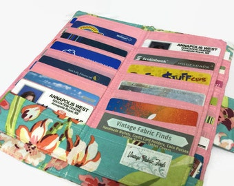 Credit Card Holder, Women's Card Wallet, Bifold Card Holder, 12 - 38 Credit Card Holder, Loyalty Card Organizer, floral Card Wallet,