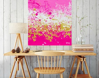 Original Abstract Art painting, Large wall art , original painting,art, acrylic, large pink painting, canvas art, Pink Gold art on canvas
