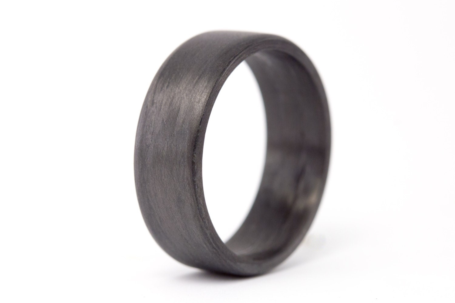 mens carbon fiber flat ring unique and instrial black wedding band water resistant - Hypoallergenic Wedding Rings