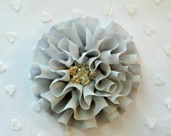 "Sale Gray Chiffon Flower. 3.5"" Ruffled Chiffon Flower. Rhinestone Center. QTY: 1 Flower. Anais Collection. A2-SF-001a"