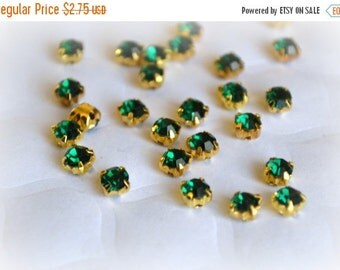 Sale 3mm Emerald Green Glass Sew on Rhinestones. Gold Colored Settings. QTY: 50 Pieces.