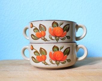 vintage 1970s retro orange flower ceramic soup bowls / handled bowl / set of two