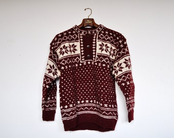 Vintage Wool Sweater Norwegian Jumper Maroon Nordic Sweater Fair Isle Knit Winter Pullover Snowflake Ski Sweater