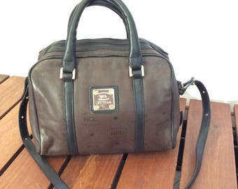 Vintage Authentic HCL Brown and Black Leather Shoulder Satchel Bag