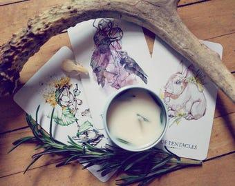 Divination Candles: Minor Arcana PREORDER - tarot candles, soy candles, tarot card inspired candles, cups, pentacles, swords, and wands