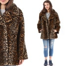 Fake Fur Leopard Coat 70s Light Spring Vegan Coat Faux Fur Animal Brown Retro Mini Length Twiggy Party 1980s Winter Vegan Coat sz Medium
