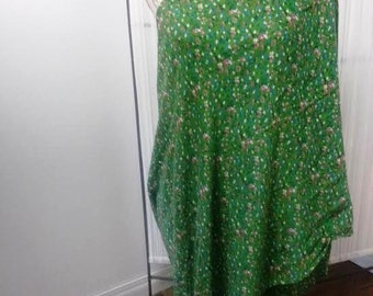 Lightweight nursing scarf, ultra soft, one of a kind, oversize, green with tiny flowers, beautiful