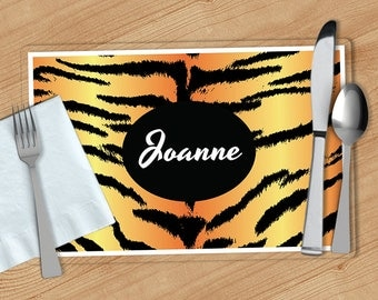 Tiger Print -  Personalized Placemat, Customized Placemats, Custom Placemat, Personalized Gift