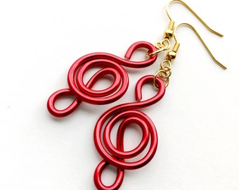 Red Wire Music Earrings Lightweight Treble Clef Earrings Music Gifts