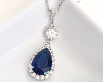 Wedding Bridal Necklace White Gold Quality Large Dark Sapphire Blue Peardrop Halo Cubic Zirconia with Round CZ Necklace