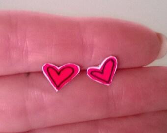 Red Heart Kawaii Earrings Ooak Jewelry Studs Girl Teen Cute