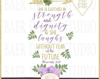 Proverbs 31 Printable:Printable Mothers Day Card, Printable Mothers Day Print, Printable Wall Art. Bible Journaling Printable,Proverbs 31 25