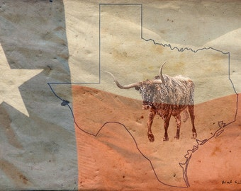 Texas Longhorn in Texas Flag on Aged Parchment