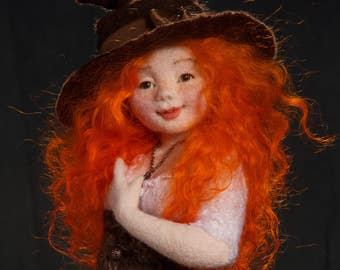 Witch Zlata, Needle felted doll, Art Doll, Autor doll, Collectible doll, Interior doll, Figurines, Sculpture, Handmade doll, OOAK doll