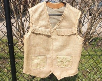 Burlap Wedding Mens' Vest, Burlap & Gold Trim, Fringe Trim, Real Burlap, Crafty But Makes The Statement, Velcro Close, Leather Lined Pockets