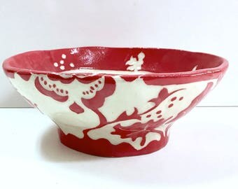 SECONDS! Sale Price! Ceramic FLORAL Bowl #2 Stoneware - SGRAFFITO Carved - Flower Design