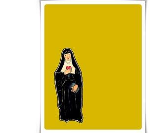 Modern Catholic St. Jane Frances de Chantal Art Painting Art Poster Illustration Religious Meditation Decor Contemporary Confirmation