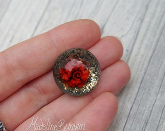 Red rose cabochon on teal green with gold, Lampwork cabochon for jewellery making, wire wrapping, seed beading