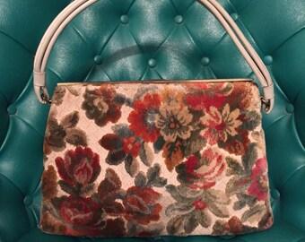 Vintage - 1950s Tapestry Purse/ Handbag with Ivory Vinyl Handle