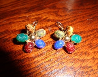 Vintage Scarab Etched Gemstone Earrings in a Daisy Shape Design with five different kinds of gemstones on each earring in Vintage Condition