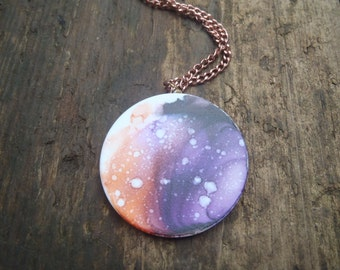 "Ceramic Planetary Pendant Necklace 39mm Solar system Inked Planets Stars 18"" copper chain Gifts for her Gifts under 20 Stars"