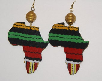 Fabric Covered Wood Earrings-Africa 3