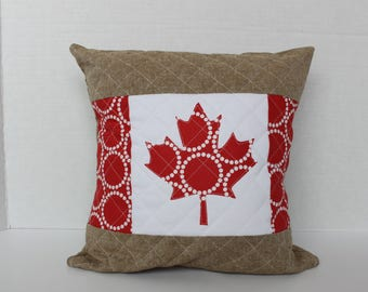 Canadian Flag Pillow Cover - Canada Pillow - Throw Pillow - Canada Day Decor - Canada 150 - Quilted Pillow - Handmade Cushion - Maple Leaf