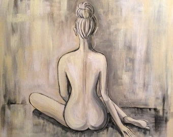 """Abstract Figurative - acrylic painting on canvas - size 61cm x 61cm (24""""x24"""")"""