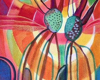 abstract original watercolor - Rooting Down