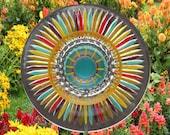 Painted Glass Yard Art, Outdoor Art Sun Catcher, Glass Garden Art, Home Décor with recycled glassware