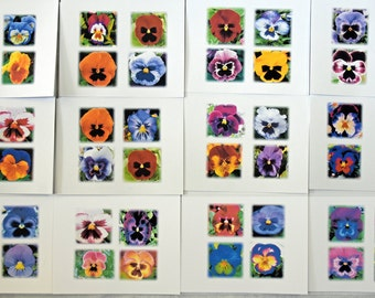 Four Painted Pansies Looking at You - Notecards