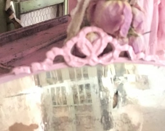 Pink mirror ornate Vintage  French roses prairie cottage shabby chic mirror