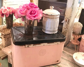 Reserved Vintage bread box pale light pink metal shabby chic cottage prairie