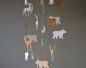 Forest animal nursery mobile or baby mobile made from white, soft brown and beige card stock --- Forest animal mobile, babygift or forest
