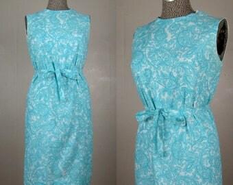 Vintage 1960s Shift Dress 60s Blue Paisley Summer Dress With Tie Belt Size S