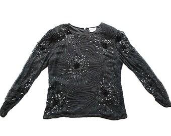 Black Beaded Blouse, Oleg Cassini, Silk Chiffon, Evening, Vintage 1970s, Small Size