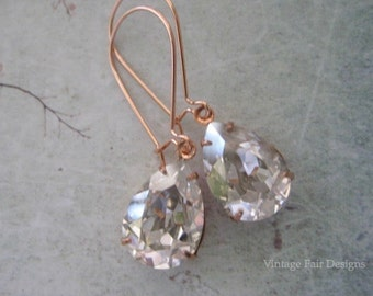 Victorian Styled Long Rose Gold Earrings Created with silver Shade Crystals from Swarovski®