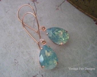 Pacific Opal Long Rose Gold Drop Earrings -  Crystal Dangle earrings - Created with crystals from Swarovski®