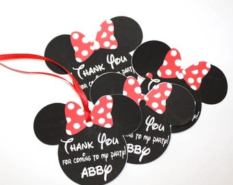 Set of 12 Personalized Thank You Party Favor Tags, Happy Birthday Party, Red OR Pink Polka Dot Minnie Mouse Ears, Party Decorations