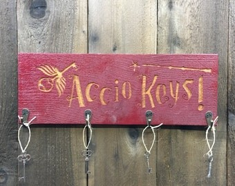 Accio Keys Harry Potter Key Holder - Magic Spell Chamber of Secrets Fantasy Movie Decoration - Carved Cedar Wood Key Plaque Hanger