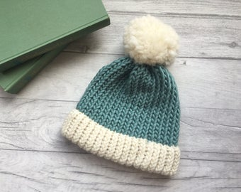 Ladies teal & white hat, womens bobble hat, hat with a pom pom, duck egg blue, ski hat, spring knitwear, spring fashion uk, gift for women,