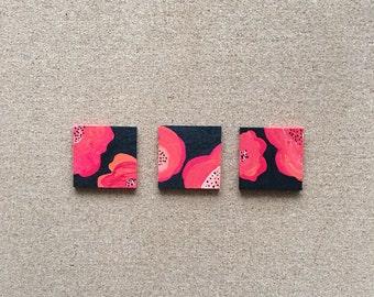 Set of 3 Red & Black Poppies Art on Wood